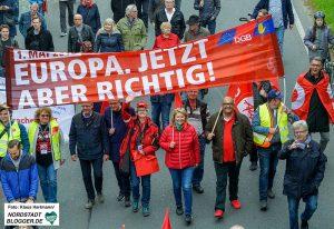 Die Demonstration zum Tag der Arbeit des DGB 2019 führt vom Platz der Alten Synagoge zum Westfalenpark