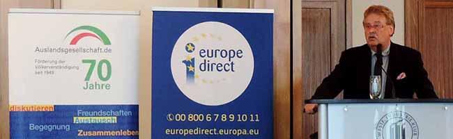 EU-Urgestein Elmar Brok erinnert im Industrieklub in Dortmund an Werte und Nutzen der Europäischen Union