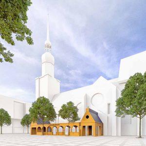 Wie in dieser Simulation soll der Paradiesgarten an der Südseite der Reinoldikirche aussehen. Visualisierung: MAD Imagery
