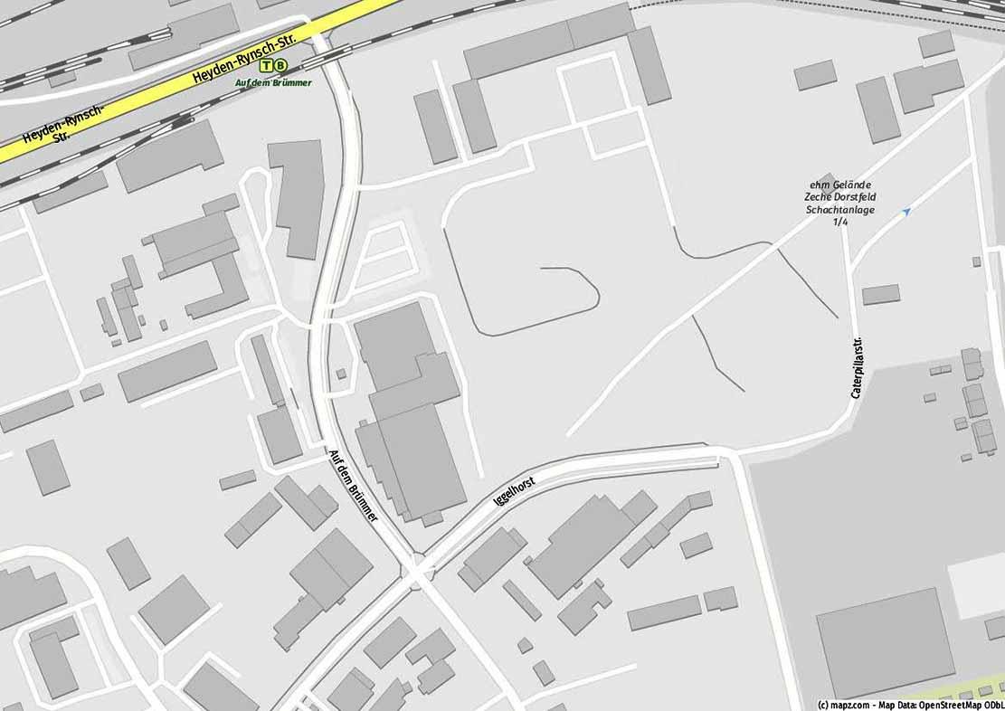 """Die Straßen """"Iggelhorst"""" und """"Auf dem Brümmer"""" im Gewerbegebiet sind betroffen. Karte: www.mapz.com"""