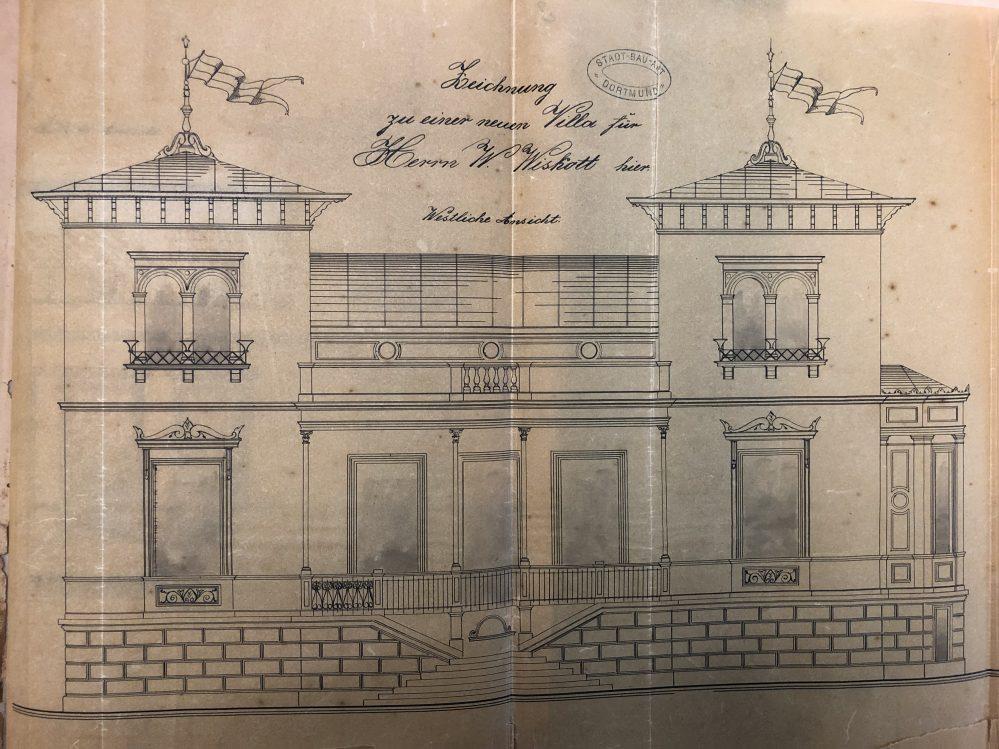 Bauzeichnung der ursprünglichen Villa Wiskott (Stadtarchiv Dortmund)