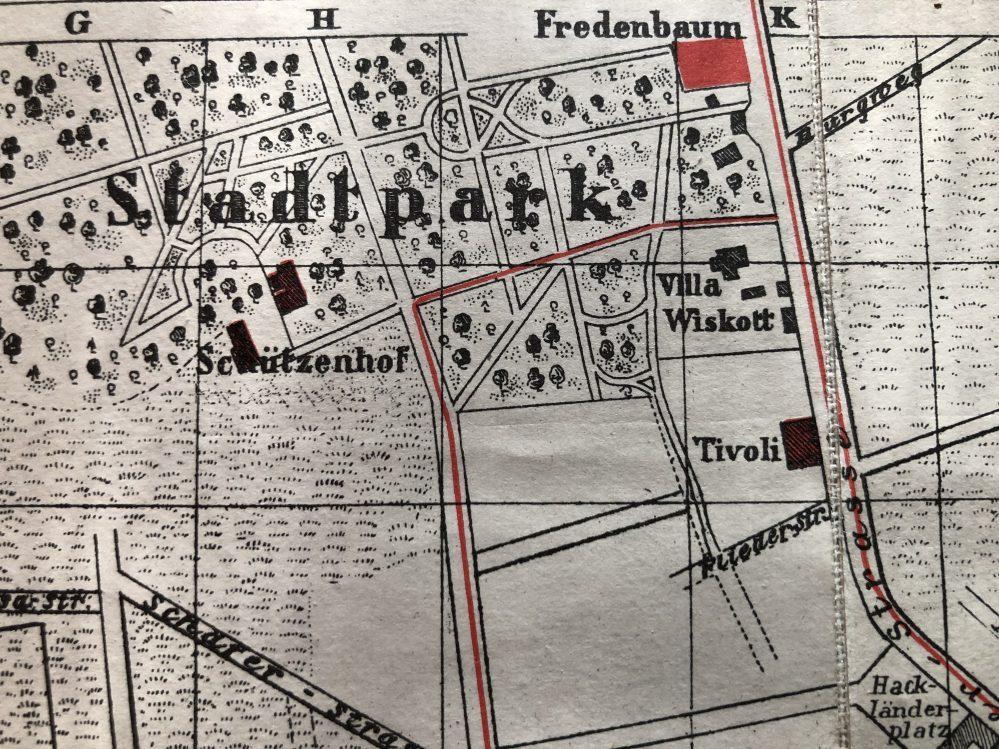 Lage der Villa Wiskott, Ausschnitt aus einem Stadtplan von 1902 (Sammlung Klaus Winter)