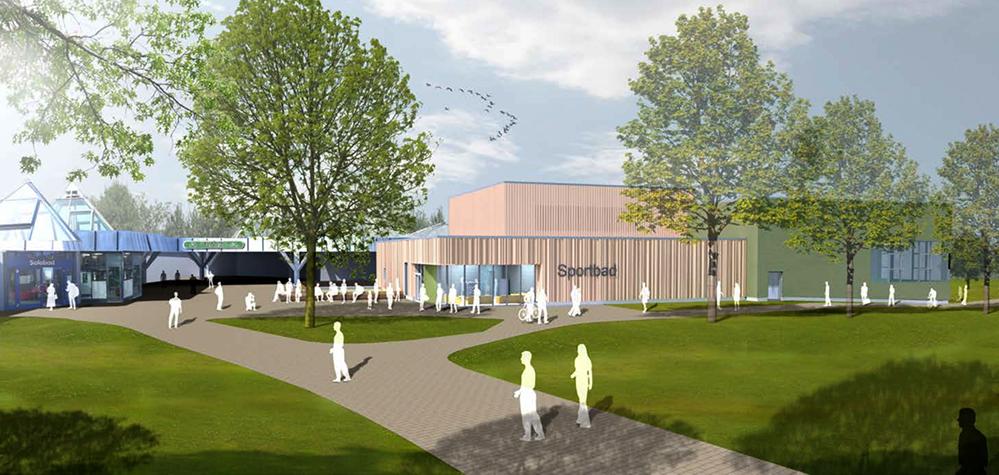 So könnte die neue Schwimmhalle am Revierpark Wischlingen aussehen. Visualisierung: pbr Planungsbüro