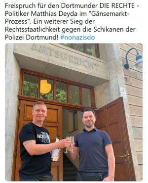Mit diesem auf dem Partei-Kanal getwitterten Foto ließ die Dortmunder Partei ihren Funktionär hochleben. Foto: Screenshot
