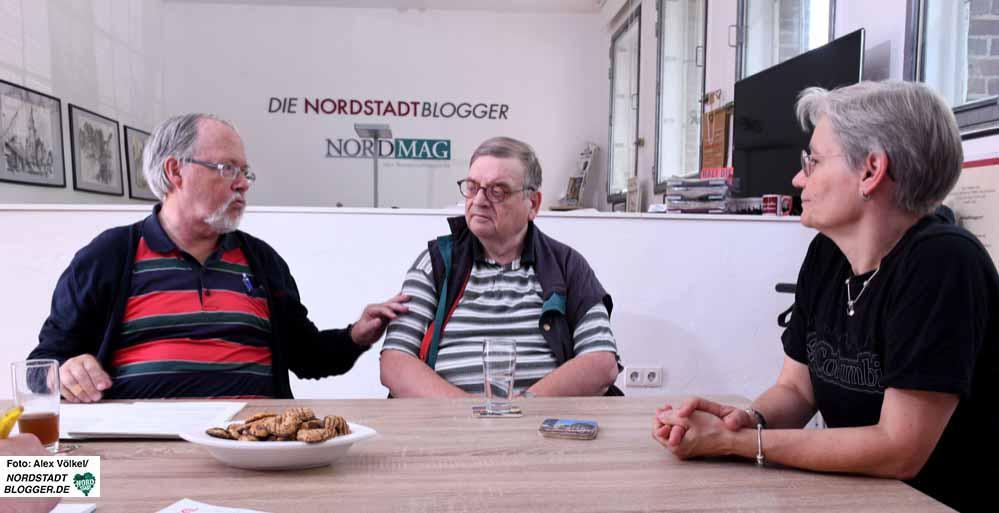 Im Gespräch bei den Nordstadtbloggern (v.l.): Friedrich-Wilhelm Herkelmann, Siegfried Volkert und Petra Opitz