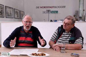 Friedrich-Wilhelm Herkelmann und Siegfried Volkert vom Vorstand des Behindertenpolitischen Netzwerks in Dortmund.