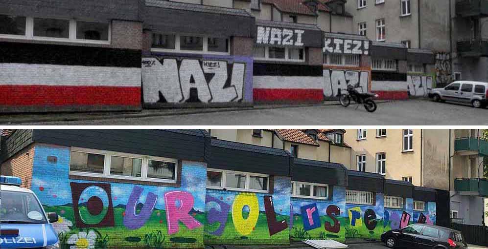 Die Nazi-Kiez-Parolen wurden übermalt - die Neonazis sind sauer.