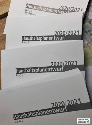 Der Haushaltsplan-Entwurf für den Doppelhaushalt 2020 - 2021. Foto: Alex Völkel