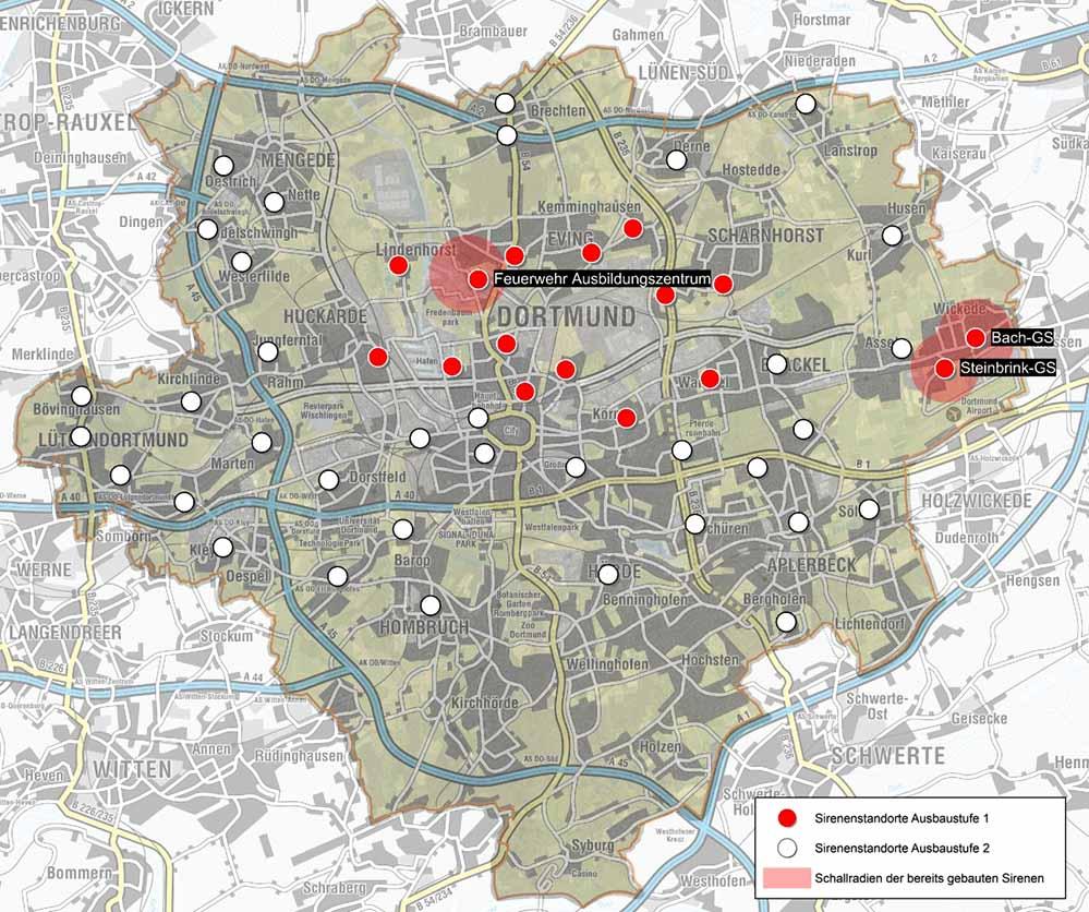 Das sind die (geplanten) Sirenenstandorte in Dortmund. Bisher wurden aber nur drei realisiert.
