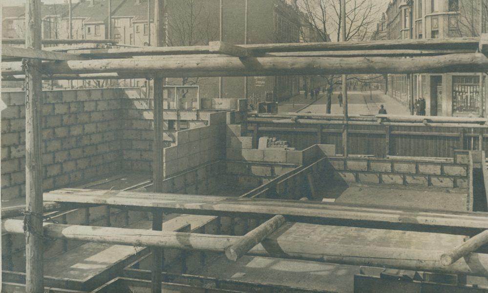 Baustelle des Gusshauses. Im Hintergrund die Scheffelstraße (Stadtarchiv Dortmund, Bestand 3, Nr. 3029)