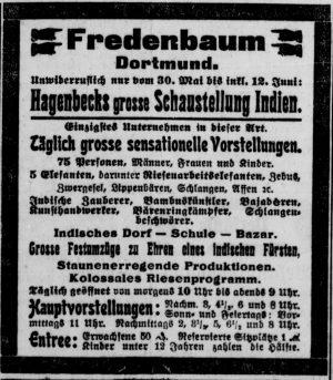 Werbeinserat zur Völkerschau 1906 (Dortmunder Zeitung, 06.06.1906)