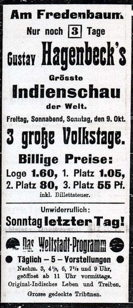 Werbeinserat zur Völkerschau 1910 (Dortmunder Zeitung, 07.10.1910)
