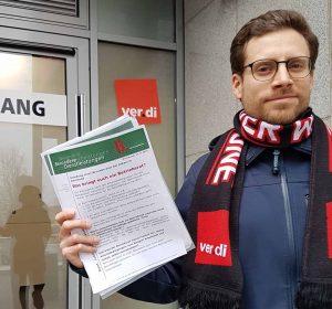 ver.di-Gewerkschaftssekretär Matthias Baumann und seine MitstreiterInnen wurden von Kikxxl-Führungskräften bedrängt.