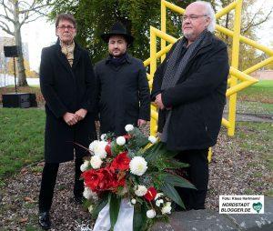 Pogromgedenken 2019 in Dorstfeld: Bürgermeisterin Birgit Jörder, Rabbiner Baruch Babaev und Bezirksbürgermeister Ralf Stoltze.