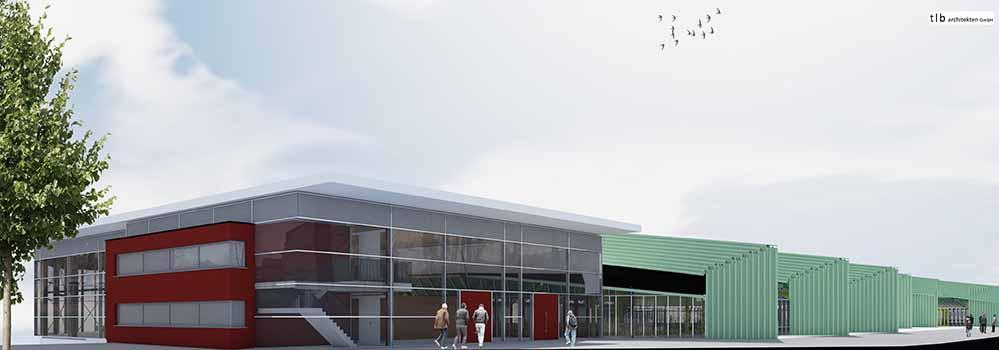 So soll die fertige Helmut-Koernig-Halle künftig aussehen. Visualisierung: tb architekten GmbH
