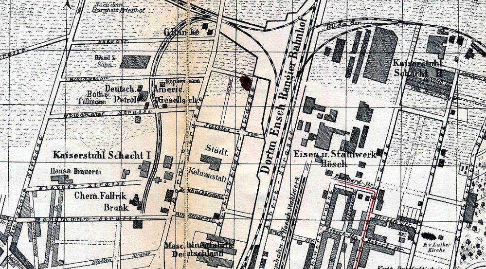 Lage von Kaiserstuhl I (links Mitte) und Kaiserstuhl II (rechts oben) auf einem Stadtplan von 1905 (Sammlung Klaus Winter)