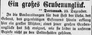 Beginn des ersten Artikels der Dortmunder Zeitung über das neuerliche Grubenunglück auf Kaiserstuhl (Dortmunder Zeitung, 23.12.1897)