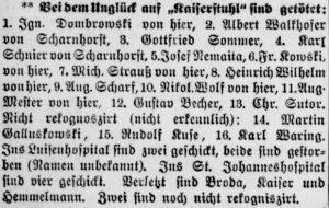 Erste Liste der Todesopfer (Dortmunder Zeitung, 24.12.1897)