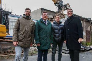 v.l.: Torben Wortmann, DOLOG; Uwe Büscher, Vorstand der Hafen AG; Kai Voges, Gründungsdirektor der Akademie; Thomas Westphal, Geschäftsführer der Dortmunder Wirtschaftsförderung