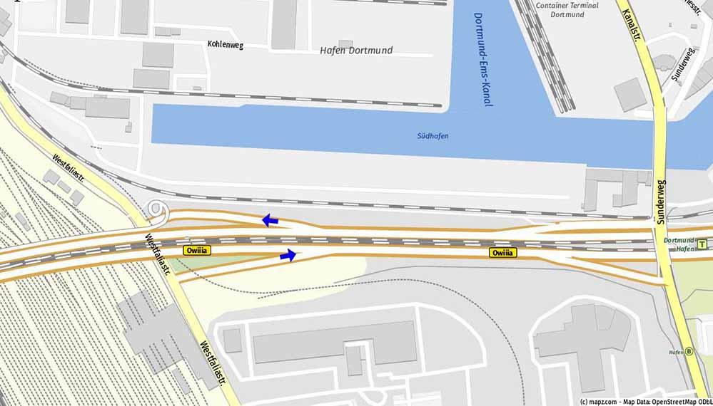 Bislang kann der Verkehr von der Westfaliastraße nur Richtung Nordstadt auffahren bzw. von der Nordstadt kommend abfahren. Der Anschluss nach Westen in Richtung Autobahn fehlt. Karte: mapz.com