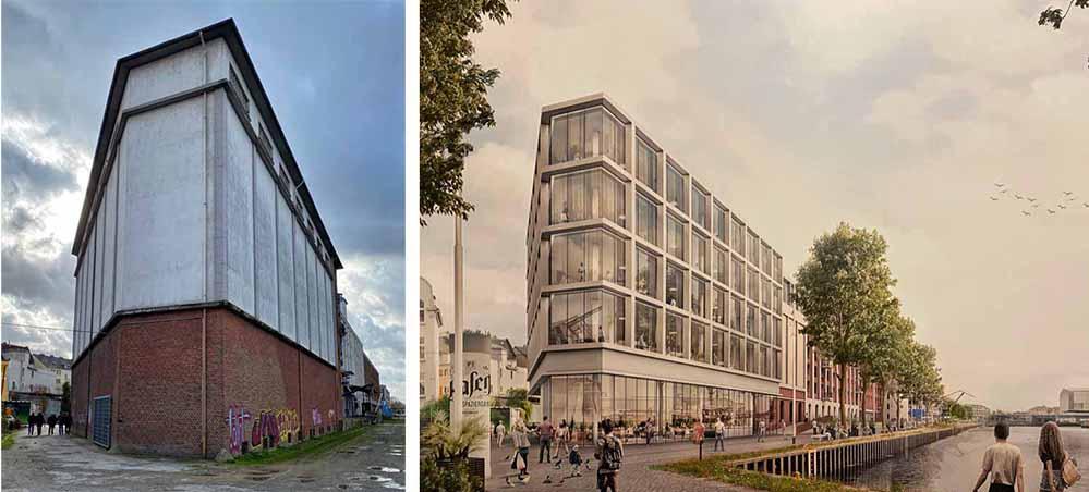 Den großen Lagerhaus-Komplex möchte die Landmarken-AG zum Hafenforum entwickeln. Fotos. Alex Völkel