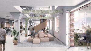 Die robuste Architektur des Lagergebäudes wird in die neue Nutzung eingearbeitet. Visualisierung: Gerber Architekten