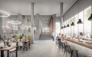 Auch Gastronomie soll im neuen Hafenforum an der Speicherstraße einziehen. Visualisierung: Gerber Architekten