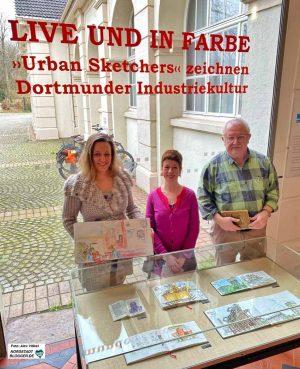 (v.li.) Zeichnerin Birgit Encke, Isolde Parussel (Leiterin des Hoesch-Museums) und Guido Wessel, Urban Sketcher im Hoesch-Museum.