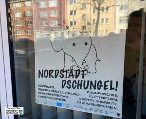 """Auch für ein Kinderfest des Quartiersmanagements wurden das Thema """"Nordstadt-Dschungel"""" gewählt."""
