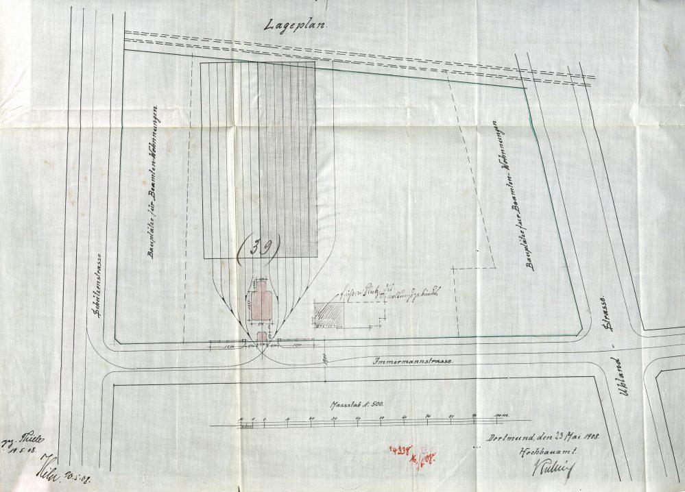 Lageplan zum Bau der ersten Straßenbahn-Wagenhallen an der Immermannstraße, 1908 (Stadtarchiv Dortmund)