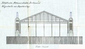 Sechs Tore führten in die erste Wagenhalle (Stadtarchiv Dortmund)