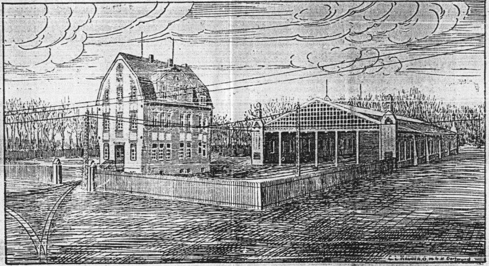 Zeitungsillustration der ersten Ausbaustufe des Depots (Generalanzeiger, 12.12.1908)
