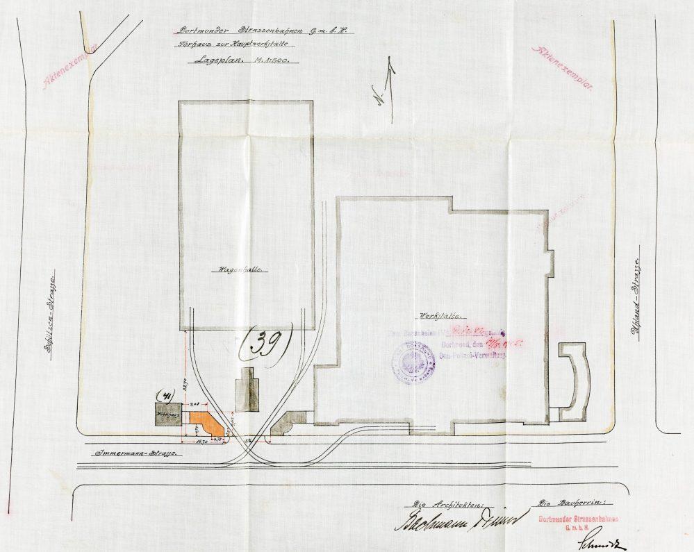 Lageplan mit Doppelwagenhalle, Verwaltungsgebäude, Torhäusern und Werkstätte (Stadtarchiv Dortmund)