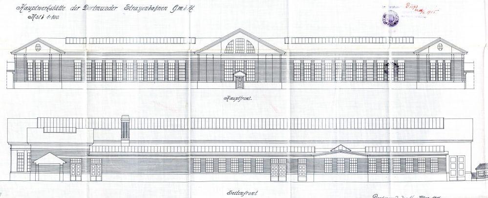 Hauptwerkstätte, oben die Südfassade, unten die Westfassade (Stadtarchiv)