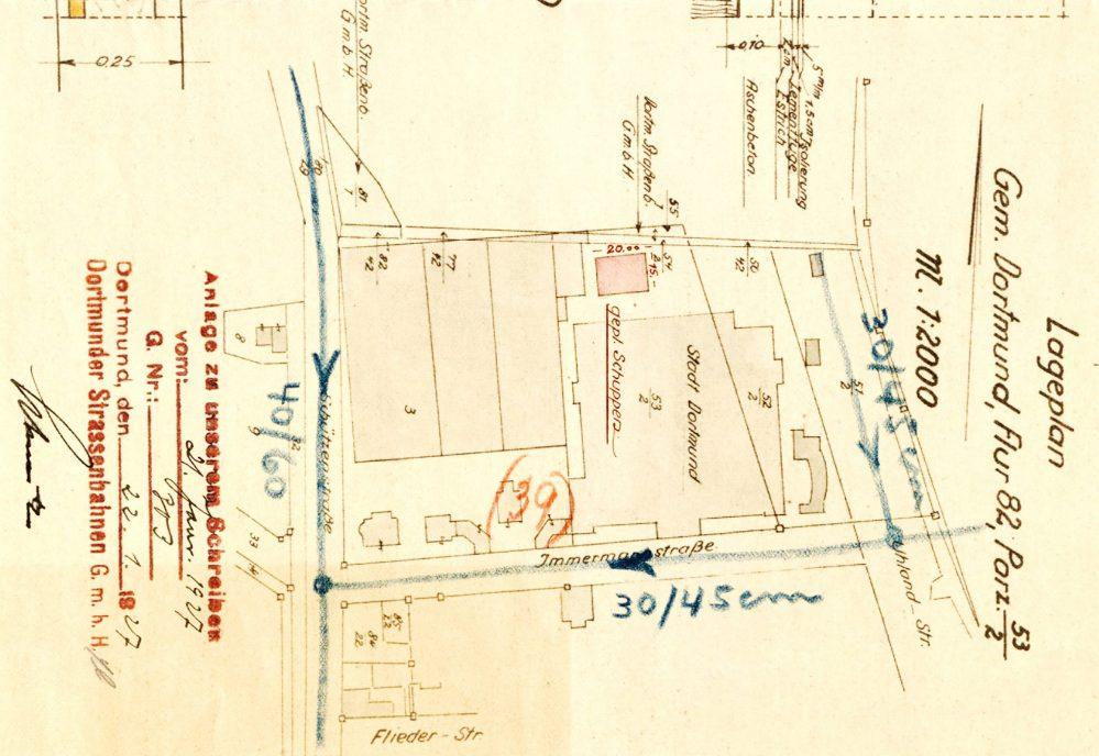 Lageplan des Betriebshofes mit der dritten Wagenhalle (Stadtarchiv)