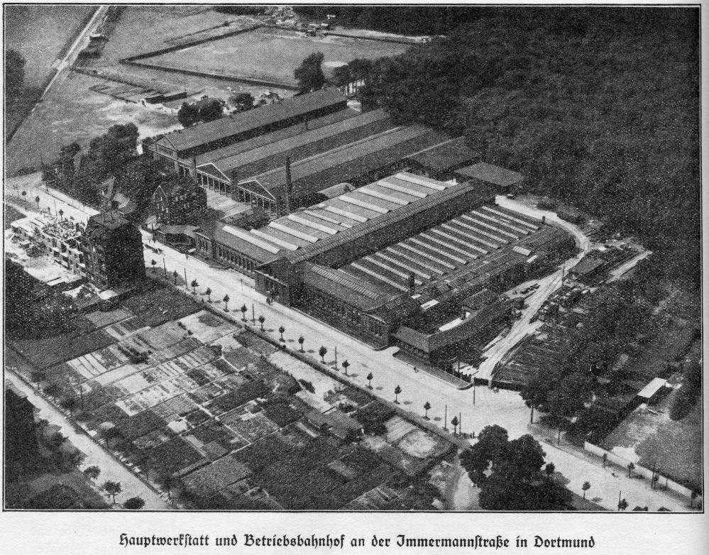 Luftaufnahme des Betriebshofes Immermannstraße, 1928 (Geschäftsbericht der Dortmunder Straßenbahnen GmbH)