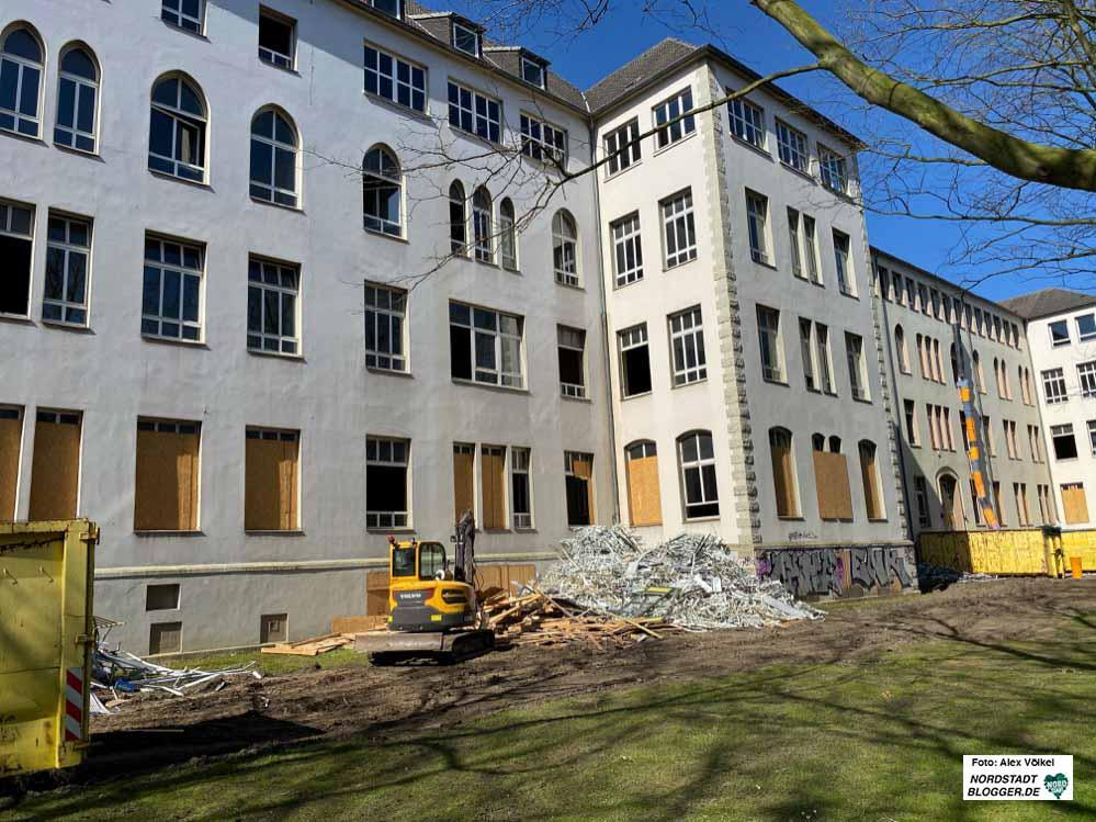 Der Abriss des Altbaus der Anne-Frank-Gesamtschule. Hier wird Platz geschaffen für einen Neubau. Foto: Alex Völkel