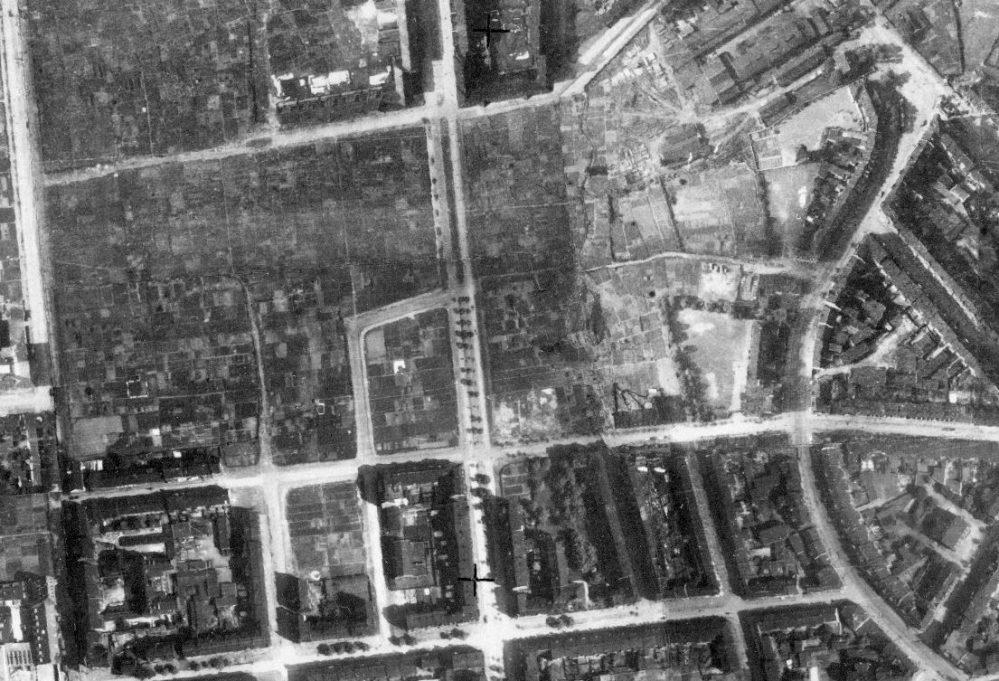 Gärten zwischen Schützen- (links) und Münsterstraße (rechts), unten die Schillerstraße, um 1926 (Regionalverband Ruhr)