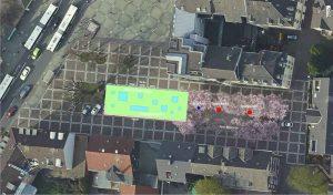 Im Bereich der heute provisorisch angelegten Stellplätze auf dem Wilhelmplatz soll ein Trampolinpark für Kinder und Jugendliche entstehen. Bild: Stadt Dortmund