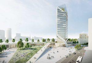 Auf der Nordseite des Hauptbahnhofs erwarten die Planer Investitionen von mehr als einer halbe Milliarde Euro. Visualisierung: Raumwerk