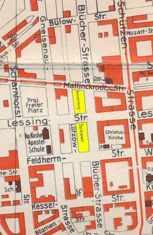 Lage des Hindenburg-Spielplatzes, Ausschnitt aus einem Stadtplan, 1935/40