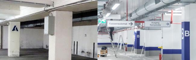 Nach umfangreicher Sanierung: Tiefgaragenanlage Westentor bietet ab sofort moderne Stellplätze am City-Ring