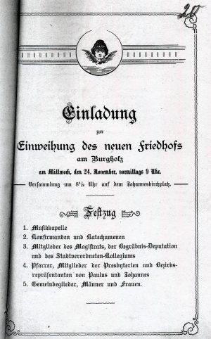 Einladung zur Weihe des Nordfriedhofs (Stadtarchiv Dortmund, Bestand 3, lfd. Nr. 2551)