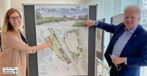 Nina Frense und Ullrich Sierau präsentierten die Entwürfe für die Zukunftsgärten Emscher Nordwärts für die IGA 2027. Foto: Alex Völkel