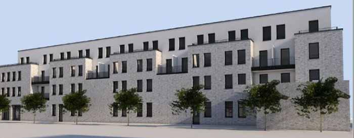 Die Polizeiwache in Hombruch - Luisenglück Fassade. Grafik: Schamp und Schmalöer