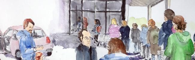 """Zeichnen geht immer: Die """"Urban Sketchers"""" und ihre Sicht auf Corona im Hoesch-Museum ab 26. Juli zu sehen"""
