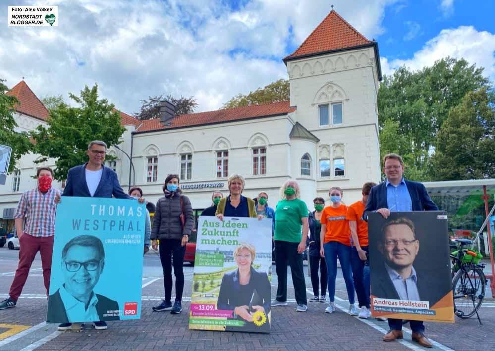Die OB-Kandidat'innen von SPD, CDU und Grünen plakatieren gemeinsam in Dorstfeld. Fotos: Alex Völkel