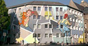 An der Borsig- und Brackeler Straße ist die Fassadengestaltung deutliche poppiger ausgefallen.