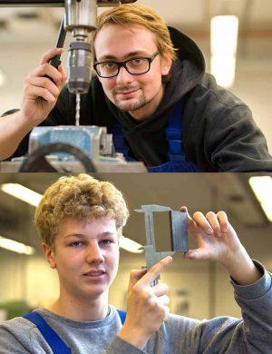 Tom Siemiontkowski (21) und Ruben Wittenberg machen eine Ausbildung zum Industriemechaniker.