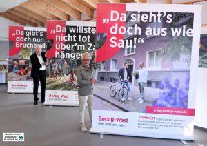 Claudia Goldenbeld, Sprecherin der Vivawest-Geschäftsführung und Dortmunds OB Ullrich Sierau stellten die Plakate vor.